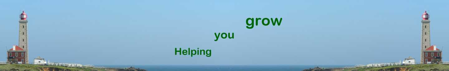 The words Helping You Grow overlayed on picture of Lighthouse