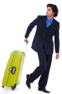 Picture of man walking away with suitcase