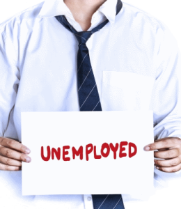 picture of man holding unemployed sign