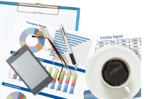 Right Space to Business Material on Desk with Coffee 2