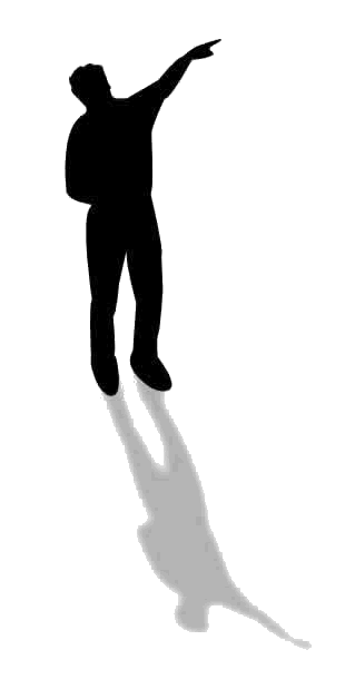 Man pointing to the right - acting as a bullet