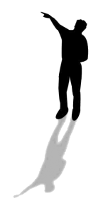 Man pointing to image to the left